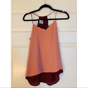 Pink/Burgundy Reversible Scallop Neck Camisole
